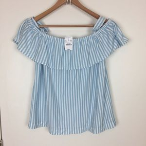 NWT J. Crew Cotton Striped On/Off Shoulder Top Med